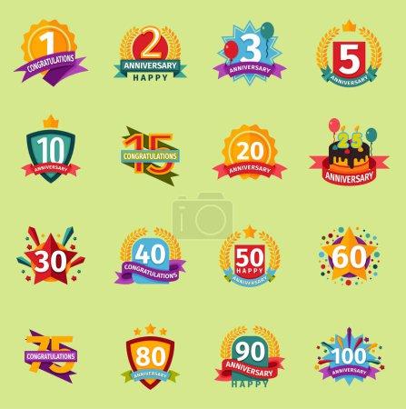 Joyeux anniversaire numéros badge bannière conception fond plat ensemble. Carte d'anniversaire invintation icônes célébration emblème. Carte anniversaire joyeux anniversaire badges date de naissance autocollant symbole .
