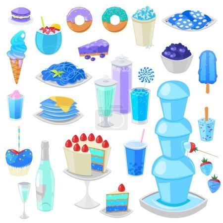gâteau bleu vecteur alimentaire bleuâtre aux myrtilles et dessert sucré aux boissons bleuâtres illustration ensemble cyan de beignet d'aigue-marine ou crème glacée bleuâtre isolé sur fond blanc