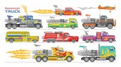 Jet truck vector afterburning race car and flamy drag racing on speedcar on sport event racetrack illustration set of shockwave jet-truck afterburner vehicle fire isolated on white background
