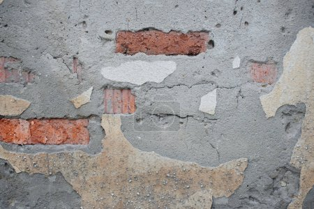 Photo for Aged cracked grey brick wall structure - Royalty Free Image