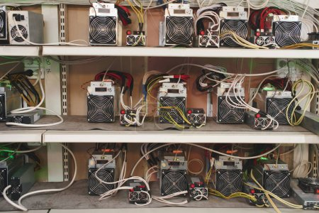 Photo for Shelves with professional equipment of farm for bitcoin cryptocurrency mining - Royalty Free Image