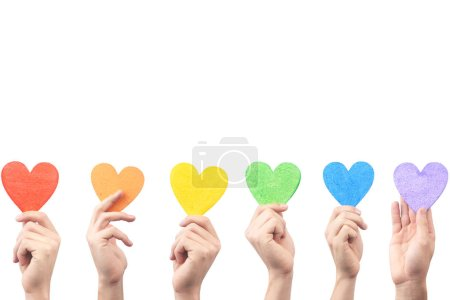 hands holding hearts painted in rainbow colors isolated on white background, LGBT concept