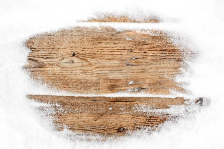 Photo for Snow frame on wooden background - Royalty Free Image