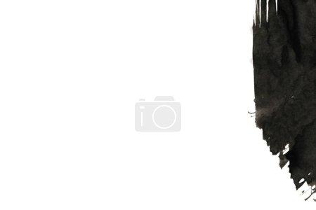 Photo pour Fond d'encre abstrait. Style marbre. Texture noire sur papier blanc. Fond d'écran pour web et game design. De l'art de la boue. Macro image du jus de stylo. Frottis foncé - image libre de droit