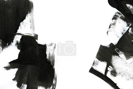 Abstrakter Tintenhintergrund. Marmorstil. Schwarze Strichstruktur auf weißem Papier. Wallpaper für Web und Game Design. Grunge-Schlammkunst. Makrobild von Federsaft. Dunkle Schmierereien