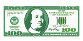 100 dollar bill with the portrait of Franklin in a cartoon style