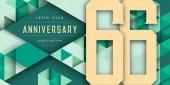 Anniversary emblems celebration logo 66th birthday vector illus