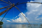 Lift nets to catch fish.The tool used to catch fish at Khuan Khanun District  Phatthalung Province