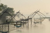 Lift nets to catch fish.  The tool used to catch fish at Khuan Khanun District  Phatthalung Province