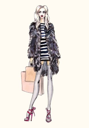 Street fashion. watercolor fashion illustration.