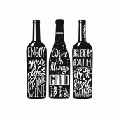Typography set of wine bottle silhouette with lettering Vector handwriting illustration designed for advertising bar or pub menu prints poster banner and labels creations Black and white