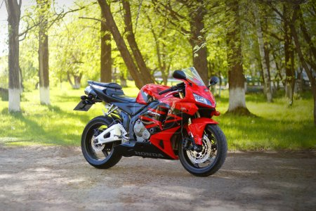 Photo for KRASNOYARSK, RUSSIA - MAY 27, 2018: Red and black sportbike Honda CBR 600 RR 2005 PC37 - Royalty Free Image