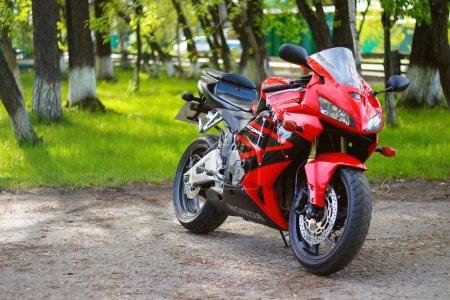 Photo for KRASNOYARSK, RUSSIA - MAY 25, 2018: Red and black sportbike Honda CBR 600 RR 2005 PC37 - Royalty Free Image