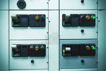 Photo for Switch electrical safety main circuit breaker box in switch gear room for industry plant concept. - Royalty Free Image