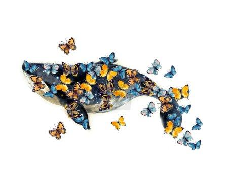 Photo pour Aquarelle baleine peinte à la main illustration isolée sur fond blanc. Esquisse de silhouette aquarelle animale. Illustration d'art dessinée à la main.Graphique pour tissu, tee-shirt, carte postale, carte de vœux, autocollant. - image libre de droit
