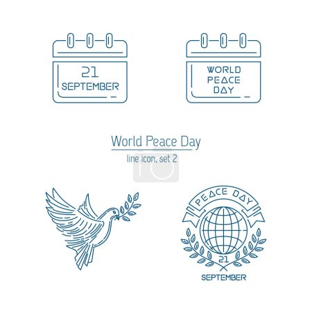 Illustration for World Peace Day line icon collection. Set 2. Logo and emblem collection for International Day of Peace. September 21. Vector illustration - Royalty Free Image
