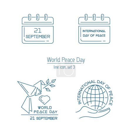 Illustration for World Peace Day line icon collection. Set 3. Logo and emblem collection for International Day of Peace. September 21. Vector illustration - Royalty Free Image