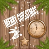 Christmas background 2019 Greeting card with christmas angel and antique clock on a wooden background Vector illustration