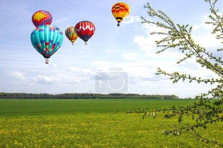 Balony nad polami rowniny.