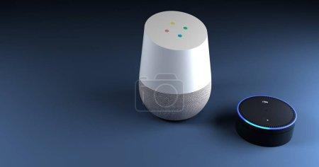 Foto de Render 3D de fondo de azul sistema de reconocimiento de voz - Imagen libre de derechos
