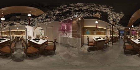 Photo pour Intérieur de la maison 360 degrés, salon et salle à manger - image libre de droit