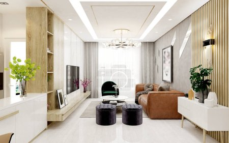 Photo for 3d render of house interior, living room - Royalty Free Image