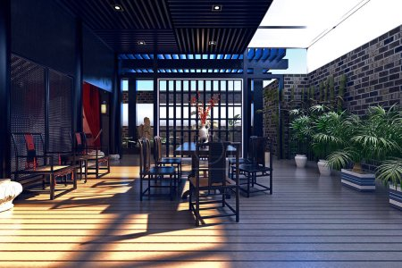 Photo for 3d render of luxury house balcony terrace - Royalty Free Image
