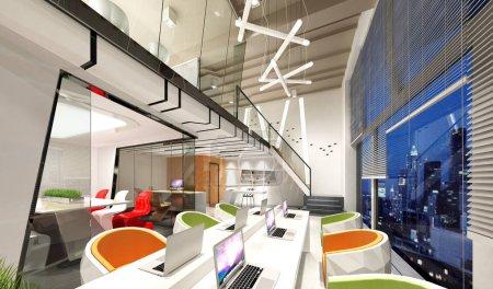 Foto de 3d renderizar espacio de trabajo moderno, interior de la oficina - Imagen libre de derechos