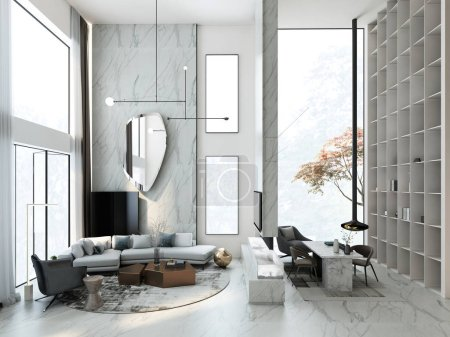 Photo for 3d render of living room - Royalty Free Image