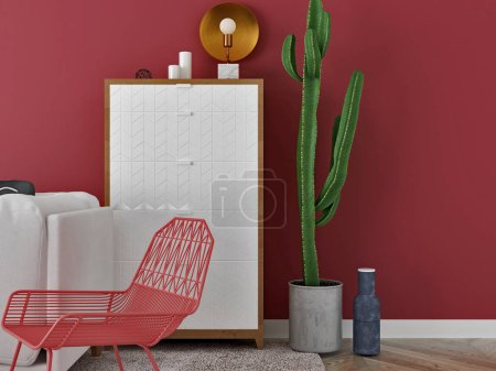 Photo for 3d render of living room decor set in red color - Royalty Free Image