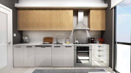 Photo pour Rendu 3D de la cuisine moderne - image libre de droit