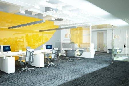 3d rendu de bureau de travail moderne