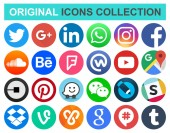 Set of popular circle social media and other icons: Facebook Twitter Instagram WhatsApp Pinterest Youtube Line and others