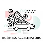 Business accelerators icon on abstract background from startup set, modern editable line vector illustration, for graphic and web design