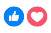 Thumb up and heart icons close-up vector illustration