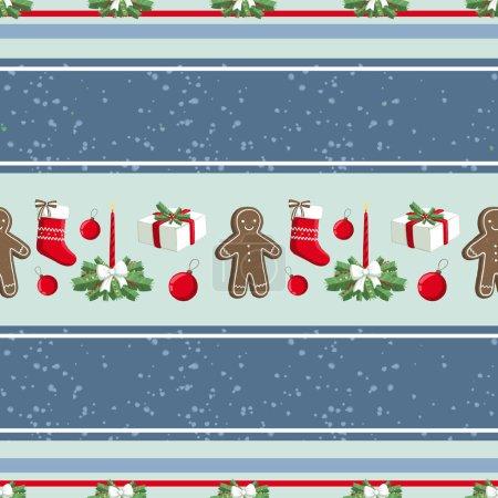 Photo pour Modèle d'illustration de Noël avec décorations, chaussettes, cadeaux, pain d'épice homme. utilisation pour cartes postales, papiers peints, textiles, scrapbooking, décoration, invitations, fond, vacances . - image libre de droit