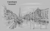 Pier in Copenhagen Denmark Landmark of Denmark Vector hand drawing illustration in black and white colors isolated on grey background