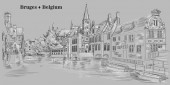View on Rozenhoedkaai water canal in Bruges Belgium Landmark of Belgium Vector hand drawing illustration in black and white colors isolated on grey background