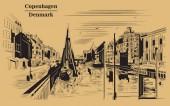 Pier in Copenhagen Denmark Landmark of Denmark Vector hand drawing illustration in black color isolated on brown background