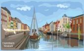 Cityscape pier in Copenhagen Denmark International landmark of Denmark Colorful vector illustration