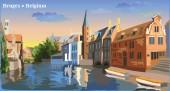Cityscape view on Rozenhoedkaai water canal in Bruges Belgium International landmark of Belgium Colorful vector illustration