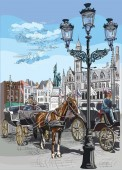 View on Grote Markt square in medieval city Bruges Belgium Landmark of Belgium Horses carriages and lanterns on market square in Bruges Colorful vector engraving illustration