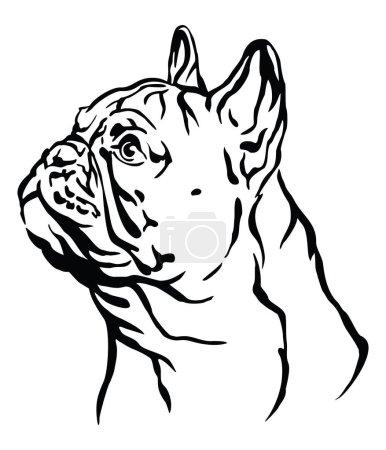 Decorative outline portrait of Dog French Bulldog ...