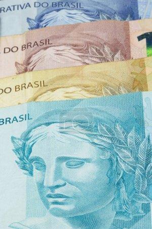 Photo for Closeup of varied values of Brazilian money. Economy of Brazil c - Royalty Free Image