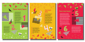 set of 3 colorful vector templates