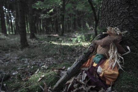 Photo pour Épouvantail assis aux racines d'un arbre, tenant une branche, couverte de feuilles séchées, dans une forêt sombre. Un concept pour Halloween . - image libre de droit