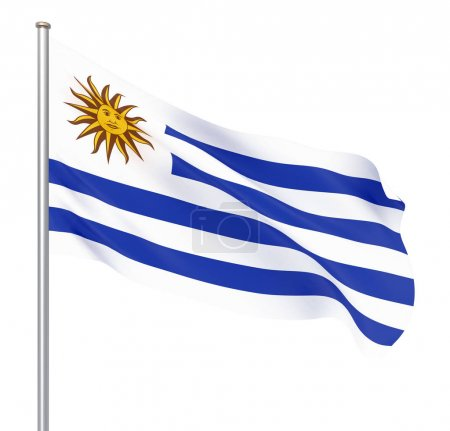 Photo pour Drapeau d'Uruguay soufflant dans le vent. Texture de fond. 3d rendu, agitant le drapeau. Illustration. Isolé sur blanc . - image libre de droit