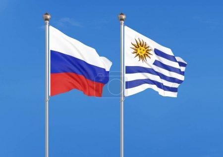 Photo pour Russie vs Uruguay. Drapeaux soyeux de couleur épaisse de la Russie et de l'Uruguay. Illustration 3D sur fond de ciel Illustration - image libre de droit