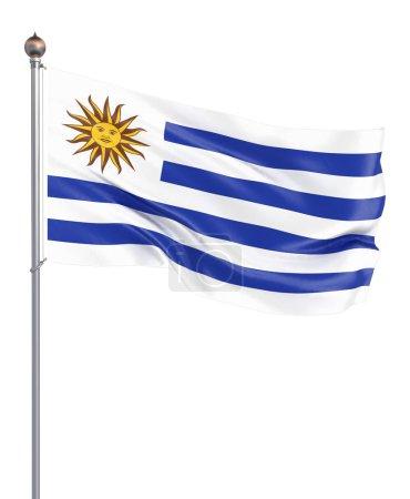 Photo pour Drapeau d'Uruguay soufflant dans le vent. Texture de fond. 3d rendu, agitant le drapeau. Illustration. Isolé sur blanc - image libre de droit
