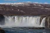 the Godafoss waterfall in Iceland on a spring day